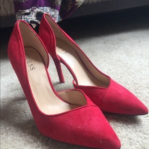 Red suede Guess heels